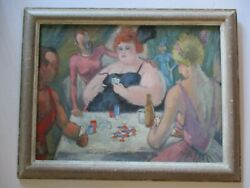 Frederic Buchholz Oil Painting Antique 1920's Circus Performers Backstage Poker