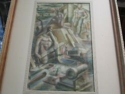 Antique Expressionist Industrial Factory Worker Painting Construction Wpa Style