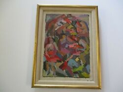 Antique Expressionist Industrial Factory Worker Painting Abstract Modernism Wpa