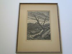 Vintage Antique Jackson Lee Nesbitt Etching Rare Wpa Evening In March Signed