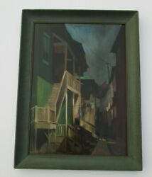 Vintage Antique Urban Oil Painting American Regionalism Wpa Style Old House Home