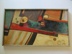 Rare 1950s Large Abstract Oil Painting Justin Faivre Modernist Bay Area Vintage