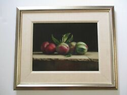 Fine Vintage Contemporary Photo Realism Oil Painting Fruit Still Life Signed