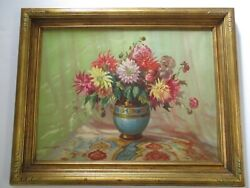 Gorgeous Antique Wood Carved Gold Large Frame With Floral Painting Art Deco Old
