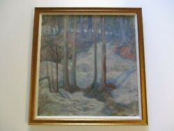 Large Oil Painting Antique American Impressionist Mystery Landscape Winter 1930