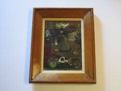Antique 19th To 20th Century Masterful Folk Painting Naive Animal Store Amazing