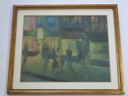 Antique Art Deco Drawing Expressionism Night Light City Stores Ny Modernism Wpa