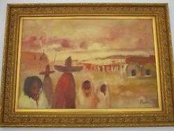Betty Binkley Painting Large 36 Inch Oil Mexico Indian Western Old Town Figures