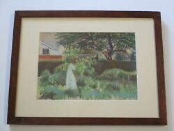 Mons Breidvik Drawing Antique Impressionist Masterful Woman Girl Garden 1920and039s