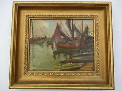 William Todd Brown Oil Painting Regionalism Coastal Nautical Ships Boats Antique