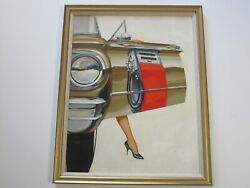 Incredible Realism Painting Classic Car Gas Pump Sexy Vintage Original 1950and039s