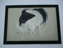 Vintage Chinese Yin Yang Painting Black White Horse Modernism Mystery 36 Inches