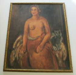 Large Otto Sievert 1894 - 1940 Painting Nude Woman Modernism Italy Antique Cat