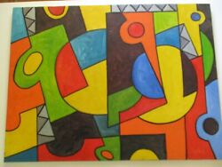 Gerald Payne Rowles Painting Vintage Abstract Cubist Cubism Modernism Large