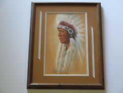 Finest Terie Knapp Drawing Native American Indian Original Tribal Portrait Chief