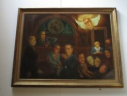 Published Large Americana Oil Painting Don Griffith 1930and039s Political Satire Wpa