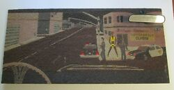 Signed Mystery Sand Pebble Modernist Painting City Cops Police Prostitute 1970and039s