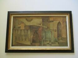 Vintage Oil Painting Abstract Cubist Cubism Modernism Signed Mystery Artist