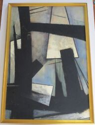 Scott Abstract Painting 1950's To 1960's Abstract Expressionism Black Blue Vntg