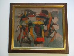 Vintage Abstract Painting Chunky Mid Century Modern Listed Leo Quanchi New York
