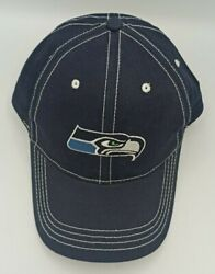 Nfl Nfc Team Seattle Seahawks Baseball Cap Hat W/ Two Logos Front And Back Blue