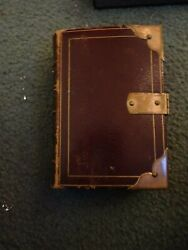 Vintage 1875 Holy Bible Brass Corners And Clasp Gorgeous His Majesty London