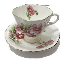 Clarence Bone China Tea Cup And Saucer Scallop Edge Gold Trim Pink Flowers Vtg