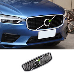 Silver Black Front Center Mesh Grille Cover Trim Fit For Volvo Xc60 2018-2021