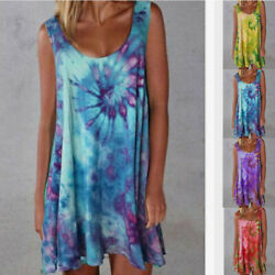 Women Summer V Neck Sleeveless Tie dye Print Loose Dress Beach Sundress Casual $13.11