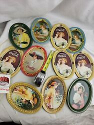 Lot Of 11 Assorted Vintage 1973 Coca Cola Mini Oval Tray
