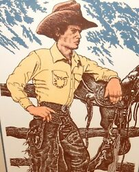 Denny Sanders Bronc Rider Hand Signed Limited Edition Color Etching