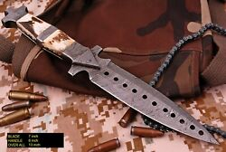 Custom Handmade Hand Forged Damascus Steel Boot Knife W/ Stag Antler And Damascus