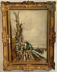 Antique Painting In Watercolor On Cardboard, Signed Lower Left By Paolo Sala