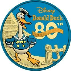 Niue 2014 2 Donald Duck 80th Ann. Blue And Yellow Gold 1 Oz Silver Coin