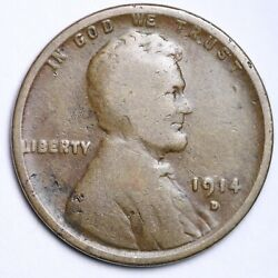 1914-d Lincoln Wheat Cent Penny Choice Vg Free Shipping E177 Kcet
