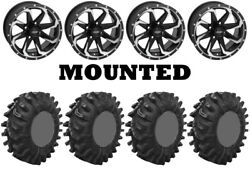 Kit 4 Superatv Terminator Tires 32x10-14 On Quadboss Fury Machined Wheels Hp1k