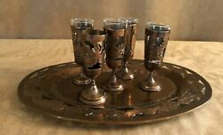 Copper Metal With Glass Insert Cordial Vintage Liquor Etched On Tray Cherry Shot