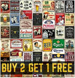 Home Bar Signs Metal Plaques Vintage Retro Style Gin Beer Corona Mancave Shed