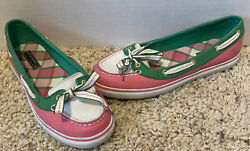 Pink White And Green Top Sider Sperrys Womens Size 7.5