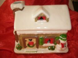 Vintage Wicks And Sticks Ceramic Gingerbread House Candle Holder Comes With 6 Te