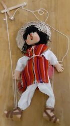 Authentic Rare 15 Mexican Art Marionette Folk Art Wooden Sombrero String Puppet