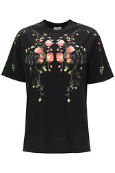 New Carrick Flowers T-shirt 8037295 Black Authentic Nwt