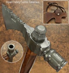 Impact Cutlery Hand Forged Damascus Pipe Tomahawk Knife, Hatchet, Axe,integral
