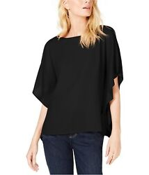Eileen Fisher Womens Silk Boat Neck Pullover Blouse, Black, Large