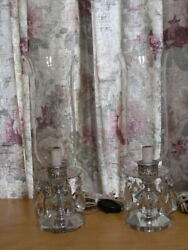 Pair Antique Electrified Luster Crystal Candle Hurricane Lamps Prisms 15 As Is
