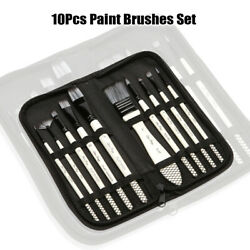 10pcs Paint Brushes Set Add Carrying Case Nylon Hair Brush For Artists Acrylics