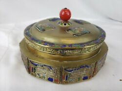 Great Antique Chinese Brass Box With Enamel Decoration And Glass Insert Ca. 1930