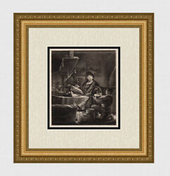 1800s Rembrandt Etching B281 The Gold Weigher Original Durand Signed Framed Coa