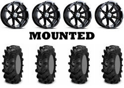 Kit 4 Itp Cryptid Tires 36x10-18 On Msa M12 Diesel Black Wheels Can