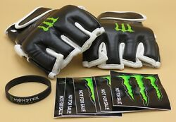 Monster Energy Mma Gloves Ufc Boxing Replica Signed Large New + Claw Stickers